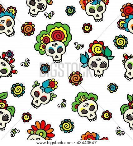 Pattern With Skulls-catrinas