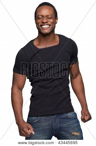 African American Man Smiling With Eyes Shut
