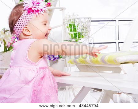 Cute laughing toddler girl