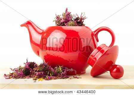 Red Teapot With Healing Herbs