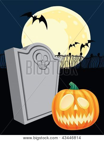Halloween Tombstone and Jack' o Lantern