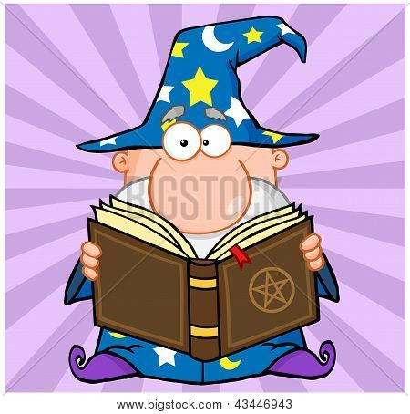 Funny Wizard Holding A Magic Book