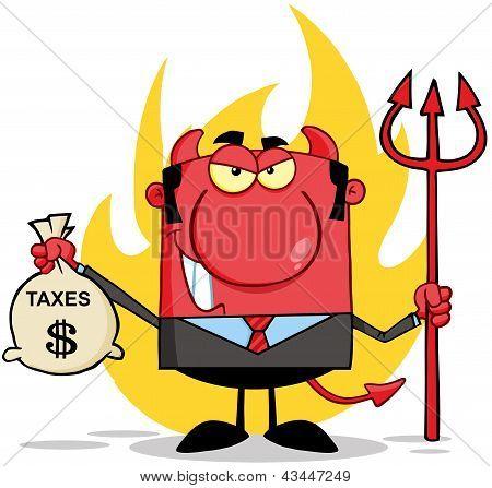Smiling Devil Holding Taxes Bag