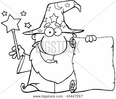 Outlined Wizard Holding Up A Scroll