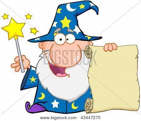 Engraçado assistente segurando um pergaminho