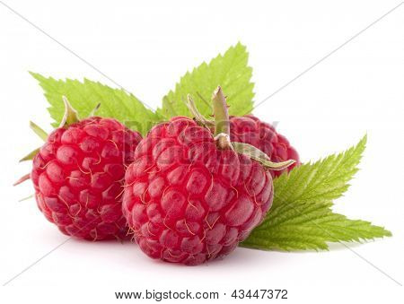Ripe raspberries  isolated on white background cutout