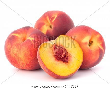Ripe peach  fruit isolated on white background cutout