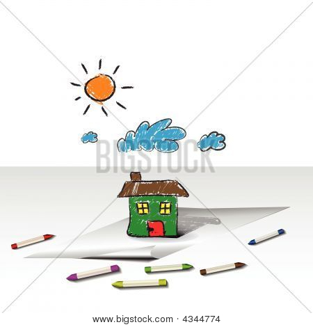 Child Kids Drawing Of A House Or Home