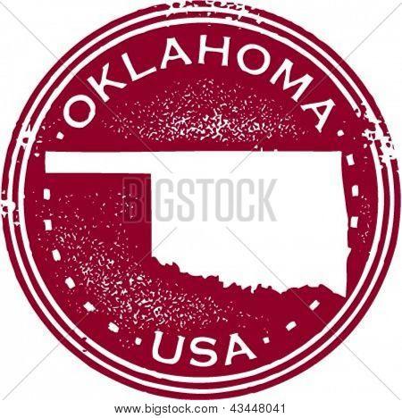 Vintage Style Oklahoma USA State Stamp