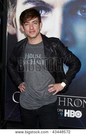 "LOS ANGELES - MAR 18:  Kevin McHale arrives at ""Game of Thrones"" Season 3 Premiere at the Chinese Theater on March 18, 2013 in Los Angeles, CA"