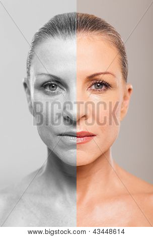 Comparison of middle aged woman before and after makeup