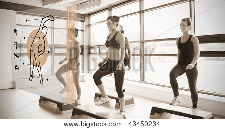 Women workout with orange interface showing them how to do in sepia