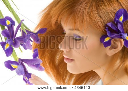 Girl With Purple Flower