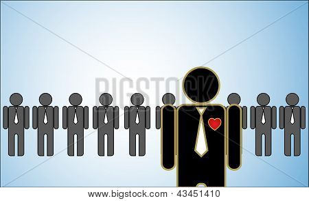 Concept Illustration Of Leadership: A Row Of Candidates Or employees Or People Standing Behind A Bri