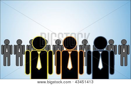 Concept Illustration Of Many Leaders: A Row Of Candidates Or employees Or People Standing Behind Thr