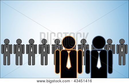 Concept Illustration Of Many Leaders: A Row Of Candidates Or employees Or People Standing Behind Two
