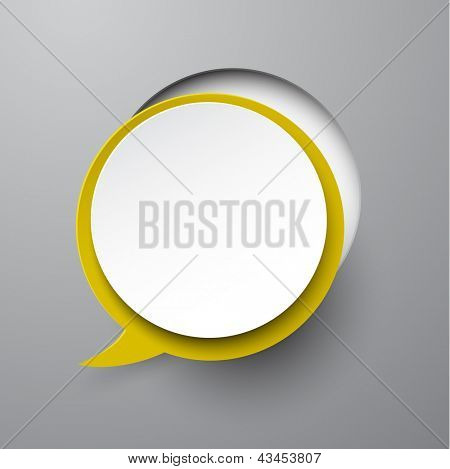 Vector illustration of white paper notched out round speech bubble. Eps10.