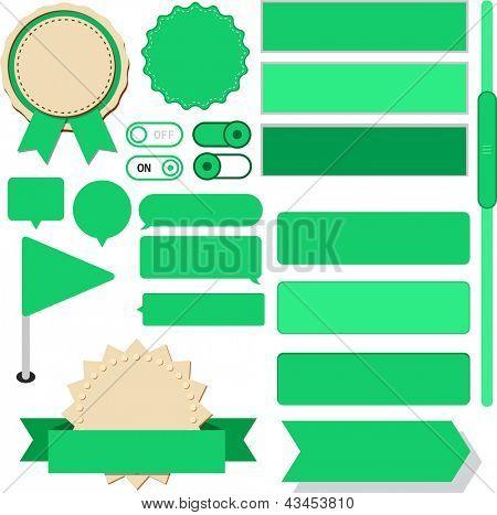 Vector illustration of green plain web elements. Flat UI.