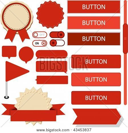 Vector illustration of red plain web elements. Flat UI.