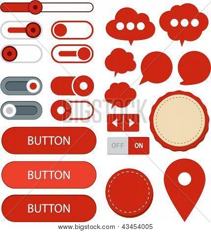 Vector illustration of red plain web elements. Flat UI.