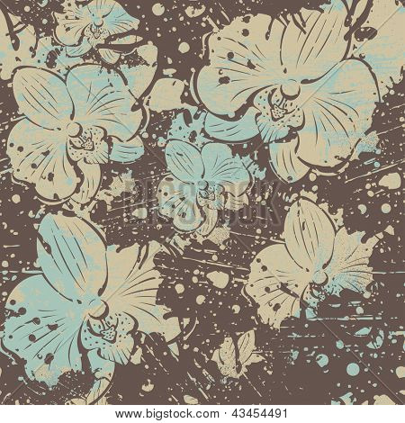 abstract seamless pattern with orchid flowers, vector illustration