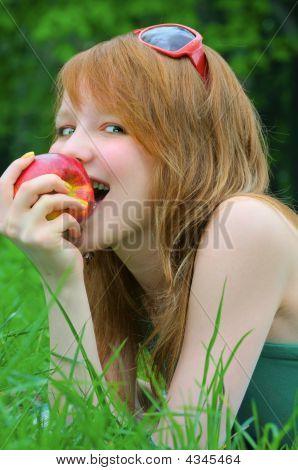 Beautiful Girl With Apple