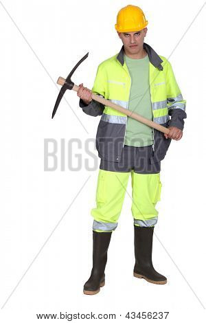 Scary builder holding axe