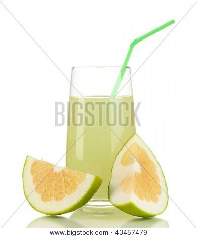 Delicious sweetie juice in glass and sweeties next to it isolated on white