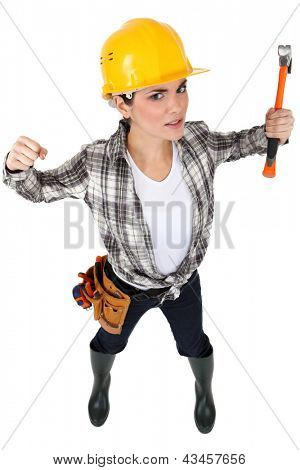 A female construction worker
