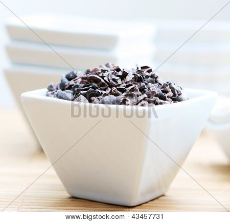 Healthy Raw Cacao Nibs Close Up