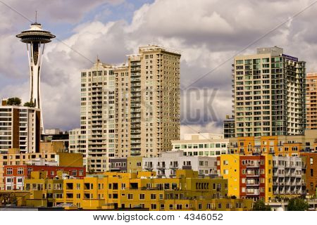 Colorful Buildings And Space Needle