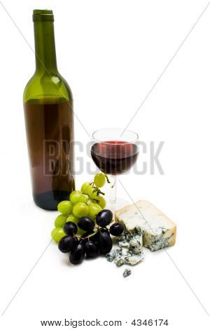 Wine Bottle With Cheese And Grapes