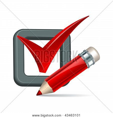 Red pencil and tick mark icon