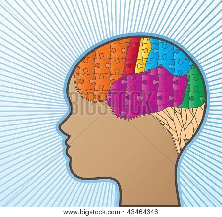 Profile or woman with puzzle brain
