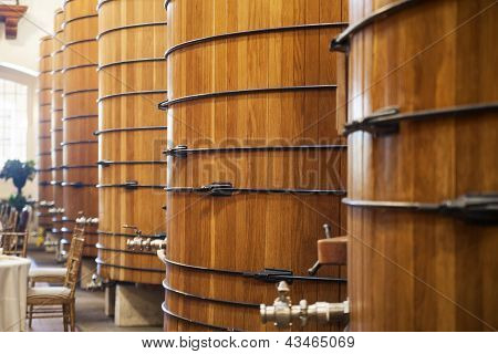 Wine Barrels In Storehouse