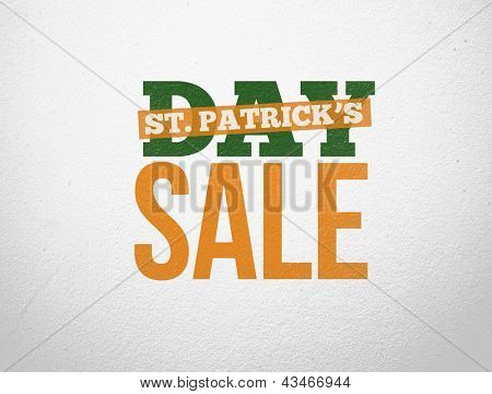 Bold text advertisement for st patricks day sale in green white and orange