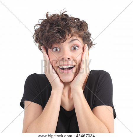 Euphoric Expression Of A Woman With Her Hands On The Face