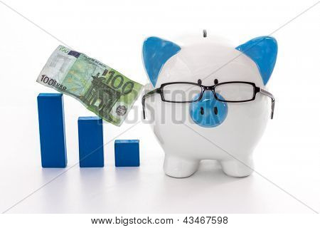 Piggy bank wearing glasses with blue graph model and hundred euro note on white background