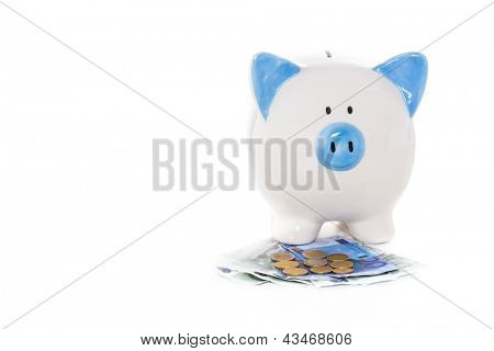 Blue and white hand painted piggy bank standing on euro notes and coins