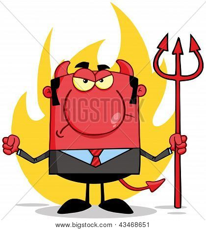 Angry Devil With A Trident  In Front Of Flames