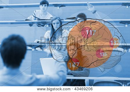 Student raising his hand in front of futuristic interface with brain on it