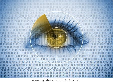 Close up of woman eye with a radar around and binary codes background