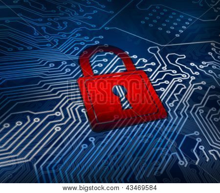 Red digital padlock over circuit board ground