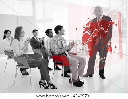 Business people clapping stakeholder standing in front of red map futuristic interface in black and white