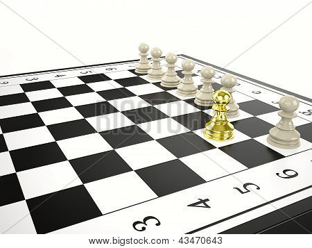 Gold Pawn And Some White Pawns - Strategy And Leadership Concept