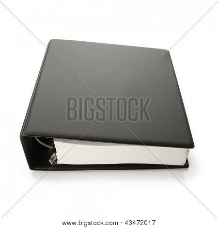 Thick blank black binder with hundreds of pages, often used for technical specifications. isolated on white