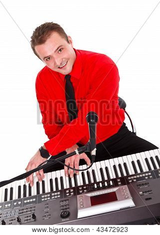 Portrait Of A Musician With Digital Piano