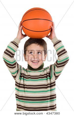 Adorable Boy Student With Basketball