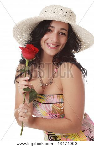 Woman Holding A Red Rose