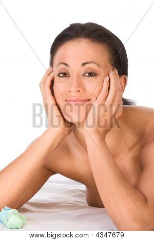 Topless Ethnic Friendly Smiling Woman In Lying In Spa